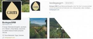 Twitter e Instagram de Bodegas GRM